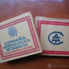Paquetes de tabaco: LOTE 2 PAQUETES DE TABACO ANTIGUO CIGARRILLOS AL CUADRADO COMPAÑIA ARRENDATARIA DE TABACO. Lote 236447000