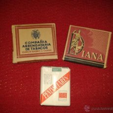 Paquetes de tabaco: TRES PAQUETES DE TABACO ANTIGUOS (PENINSULARES, DIANA Y COMPAÑIA ARRENDATARIA DE TABACO). Lote 48961393