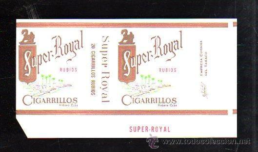 PAQUETE DE TABACO. SUPER ROYAL. RUBIOS. HABANA, CUBA. 16 X 9CM. (Coleccionismo - Objetos para Fumar - Paquetes de tabaco)