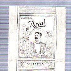 Paquetes de tabaco: PAQUETE DE TABACO. CUBA. CIGARROS ROYAL. ARROZ. PANETELAS. VALLAAMIL SANTALLA Y CIA. 20 X 10CM. Lote 49190282
