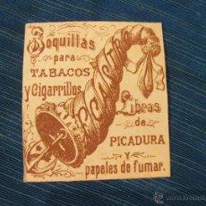 Paquetes de tabaco: RESTO DE ENVOLTORIO O ETIQUETA DE TABACO F. CASTRO. BOQUILLAS PARA TABACOS Y CIGARRILLOS Y PICADURA. Lote 53079438