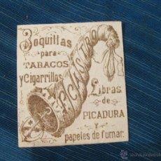 Paquetes de tabaco: RESTO DE ENVOLTORIO O ETIQUETA DE TABACO F. CASTRO. BOQUILLAS PARA TABACOS Y CIGARRILLOS Y PICADURA. Lote 53079462