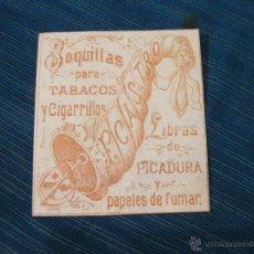 Paquetes de tabaco: RESTO DE ENVOLTORIO O ETIQUETA DE TABACO F. CASTRO. BOQUILLAS PARA TABACOS Y CIGARRILLOS Y PICADURA. Lote 53079477