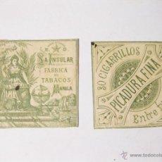 Paquetes de tabaco: ENVOLTORIO DE CAJA DE 30 CIGARROS. CIGARRILLOS LA INSULAR MANILA. FABRICA DE TABACOS. TABACO. Lote 53968850