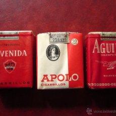 Paquetes de tabaco: AVENIDA -APOLO-AGUILA .LOTE DE 3 PAQUETES DE TABACO. Lote 54425878