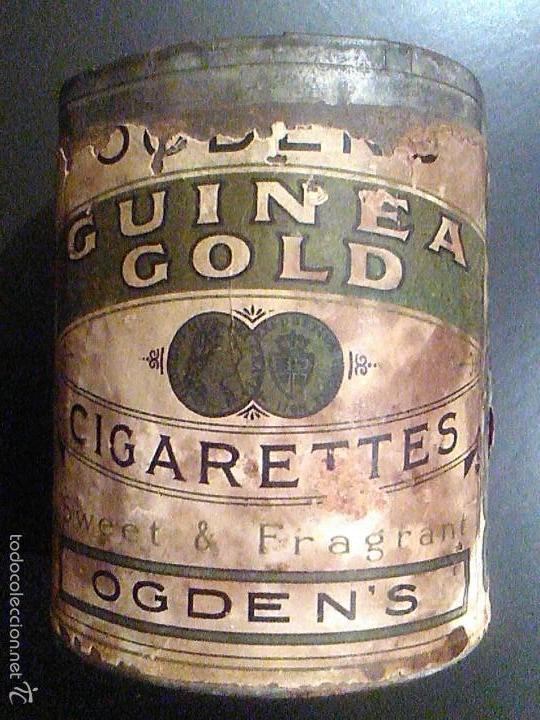 LATA TABACO OGDEN´S GUINEA GOLD CIGARETTES FÁBRICA DE TABACOS AÑOS 20. TOBACCO CO CANADA LIMITED (Coleccionismo - Objetos para Fumar - Paquetes de tabaco)