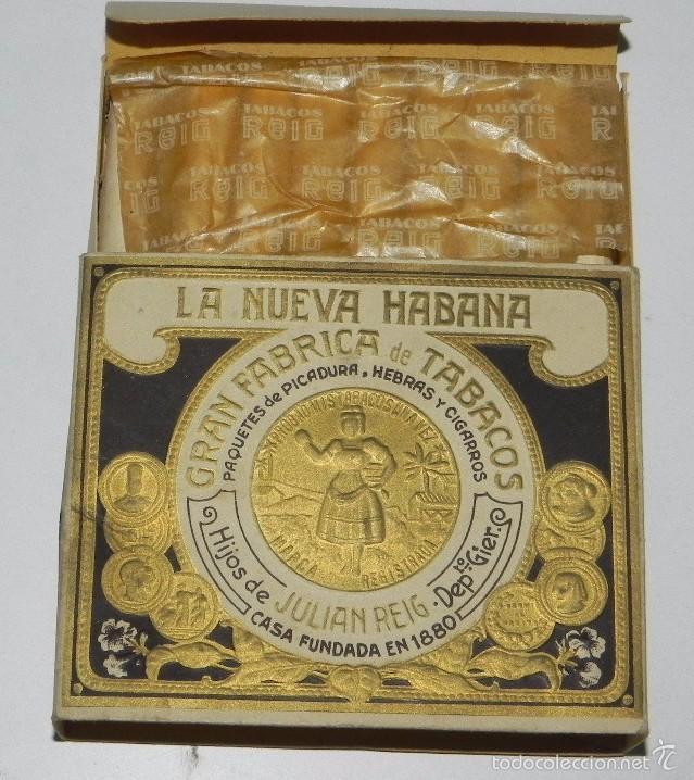 CIGARROS HIJOS DE JULIAN REIG, LA NUEVA HABANA GRAN FABRICA DE TABACOS PAQUETES DE PICADURA HEBRAS (Coleccionismo - Objetos para Fumar - Paquetes de tabaco)