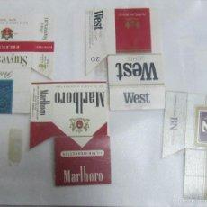 Paquetes de tabaco: HOJA CON LOTE DE 7 FRONTALES DE PAQUETE DE TABACO. LOS DE LA FOTO. VER. Lote 60330463