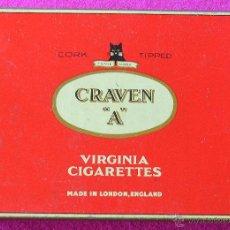 Paquetes de tabaco: CRAVEN A - ANTIGUA CAJA DE METAL DE CIGARRILLOS - MADE IN ENGLAND. Lote 62271168