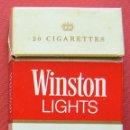Paquetes de tabaco: WINSTON LIGTHS - PAQUETE DE TABACO VACIO AÑOS 90. Lote 161088104