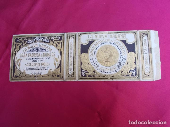 LA NUEVA HABANA. GRAN FABRICA DE TABACOS. HIJOS DE JULIAN REIG. 20 CIGARRILLOS HEBRA. (Coleccionismo - Objetos para Fumar - Paquetes de tabaco)