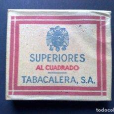 Paquetes de tabaco: SUPERIORES-AL CUADRADO-PAQUETE DE TABACO ANTIGUO, 0,75 PTS TABACALERA,S.A.. Lote 75249619