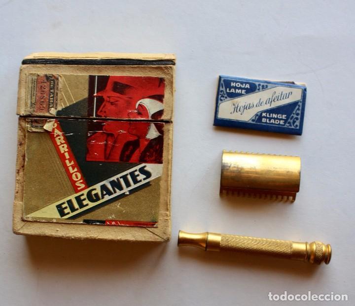Paquetes de tabaco: CURIOSO PAQUETE DE CIGARRILLOS ELEGANTES, TRANSFORMADO PARA LLEVAR MAQUINILLA DE AFEITAR - Foto 5 - 80288613