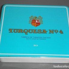 Paquetes de tabaco: CAJA METALICA DE LA MARCA DE LOS TABACOS TURQUESA Nº 4. Lote 89288428
