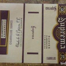 Paquetes de tabaco: ENVOLTORIO DE PAQUETE DE CIGARROS SUPREMA, TABACO ESPAÑA TENERIFE CANARIAS. Lote 93281820