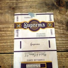 Paquetes de tabaco: ENVOLTORIO DE PAQUETE DE CIGARROS SUPREMA, TABACO ESPAÑA TENERIFE CANARIAS. Lote 95219395