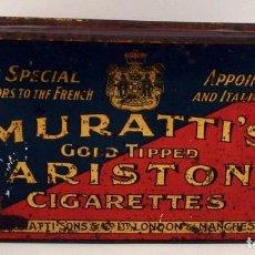Paquetes de tabaco: CAJA METÁLICA MURATTI´S GOLD TIPPED ARISTON CIGARETTES. Lote 100896883