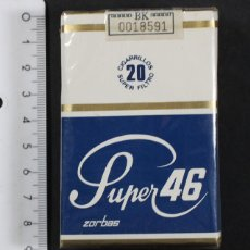 Paquetes de tabaco: PAQUETE CAJETILLA DE 20 CIGARRILLOS SUPER 46 ZORBAS TABACALERA, COIN CELOFAN Y SIN DESPRECINTAR. Lote 101190235