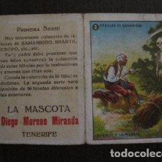Paquetes de tabaco: LA MASCOTA - FABRICA DE TABACOS -TENERIFE -CROMO DOBLE FABULAS DE SAMANIEGO -VER FOTOS- (V-12.394). Lote 101480499