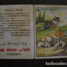 Paquetes de tabaco: LA MASCOTA - FABRICA DE TABACOS -TENERIFE -CROMO DOBLE FABULAS DE SAMANIEGO -VER FOTOS- (V-12.397). Lote 101480643