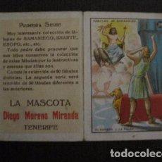 Paquetes de tabaco: LA MASCOTA - FABRICA DE TABACOS -TENERIFE -CROMO DOBLE FABULAS DE SAMANIEGO -VER FOTOS- (V-12.404). Lote 101481063
