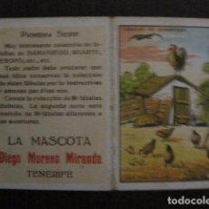 Paquetes de tabaco: LA MASCOTA - FABRICA DE TABACOS -TENERIFE -CROMO DOBLE FABULAS DE SAMANIEGO -VER FOTOS- (V-12.406). Lote 101481211
