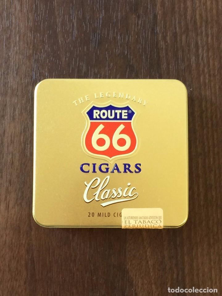 LATA AGIO CIGARS HOLLAND, ROUTE 66, 1997. CON 9 CIGARROS (Coleccionismo - Objetos para Fumar - Paquetes de tabaco)