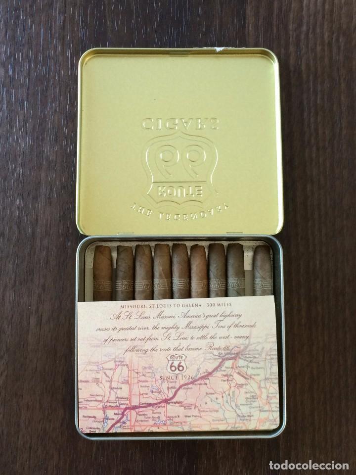 Paquetes de tabaco: LATA AGIO CIGARS HOLLAND, ROUTE 66, 1997. CON 9 CIGARROS - Foto 2 - 204192658