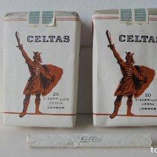 Paquetes de tabaco: CELTAS, CIGARRILLOS HEBRA LARGOS. DOS PAQUETES ENTEROS. Lote 102438699