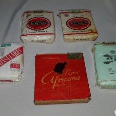 Paquetes de tabaco: LOTE DE 5 PAQUETES DE TABACO . PARTAGAS , TANAUSU , PENINSULARES Y SUPER AFRICANA . COMPLETOS. Lote 103466767
