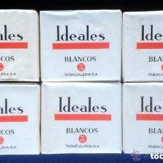 Paquetes de tabaco: LOTE 6 ANTIGUOS / ANTIGUO PAQUETES / PAQUETE TABACO IDEALES BLANCOS TABACALERA SA - AÑOS 60 70. Lote 103664551