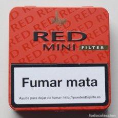 Paquetes de tabaco: VILLINGER - RED MINI FILTER - CAJITA DE METAL VACIA DE CIGARRITOS. Lote 108049103