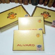 Paquetes de tabaco: GRAN LOTE COMPUESTO POR 4 CAJAS DE PUROS ALVARO - 20 RAGER, 25 SALUDOS Y 25 CEDROS - PRECINTADOS -. Lote 109897323