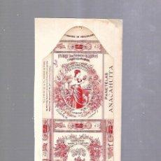 Paquetes de tabaco: CUBA. PAQUETE DE TABACO. AÑOS 20. CIGARROS LA FLOR JOSE SUAREZ MURIAS. PANETELAS ANACAHUITA. Lote 110533487