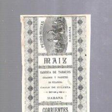 Paquetes de tabaco: CUBA. PAQUETE DE TABACO. AÑOS 20. CIGARROS PEDRO MURIAS. MAIZ CORRIENTES. Lote 118669355