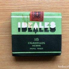 Paquetes de tabaco: ANTIGUO PAQUETE DE TABACO IDEALES, COMPAÑIA ARRENDATARIA DE TABACOS FINOS HEBRA, 18 CIGARRILLOS.. Lote 111851607