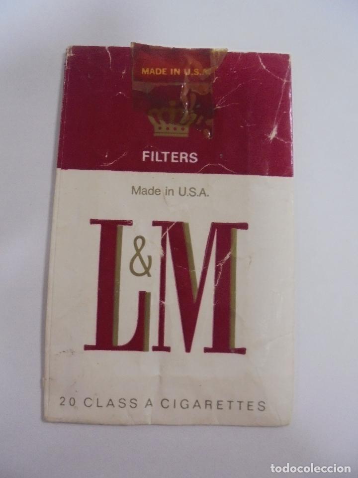 Paquetes de tabaco: PAQUETE DE TABACO. MARCA L&M EX. U.S.A. VACIO. VER FOTOS - Foto 2 - 112951955