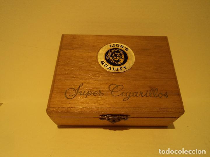 CAJA DE MADERA DE 50 SUPER CIGARRILLOS LION´S QUALITY - LIONS (Coleccionismo - Objetos para Fumar - Paquetes de tabaco)