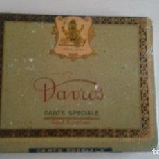 Paquetes de tabaco: CAJA METALICA VACIA DE CIGARRILLOS DAVROS CARTE SPECIALE.. Lote 116551667