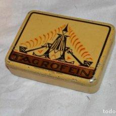 Paquetes de tabaco: ANTIGUA Y VINTAGE - CAJA METÁLICA PICADURA DE TABACO - TAGROFEIN - TAGRO FRANKFURT A./M. - HAZ OFERT. Lote 119140299