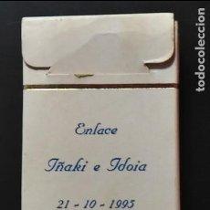 Paquetes de tabaco: CAJA DE CIGARRILLOS. RECUERDO DE BODAS. IÑAKI E IDOIA. 21-10-1995. TABACOS GOLD COAST.. Lote 123447011