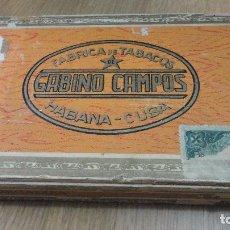 Paquetes de tabaco: ANTIGUA CAJA DE PUROS.FABRICA DE TABACOS GABINO CAMPOS.HABANA.CUBA.25 REGALIAS . Lote 125166399
