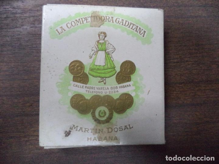 PAQUETE DE TABACO DE CARTON. LA COMPETIDORA GADITANA. MEDIDAS : 8 X 8. VER FOTOS. (Coleccionismo - Objetos para Fumar - Paquetes de tabaco)