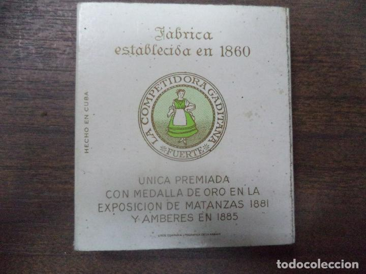 Paquetes de tabaco: PAQUETE DE TABACO DE CARTON. LA COMPETIDORA GADITANA. MEDIDAS : 8 X 8. VER FOTOS. - Foto 2 - 128219495
