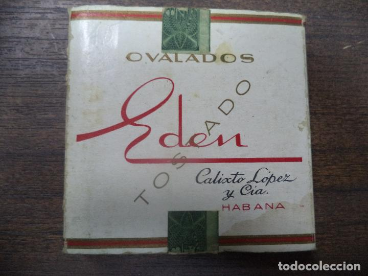 PAQUETE DE TABACO DE CARTON. EDEN. CALIXTO LOPEZ Y CIA, HABANA. MEDIDAS : 8 X 8. VER FOTOS. (Coleccionismo - Objetos para Fumar - Paquetes de tabaco)