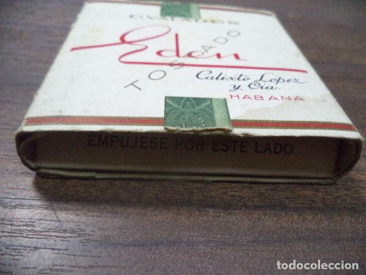 Paquetes de tabaco: PAQUETE DE TABACO DE CARTON. EDEN. CALIXTO LOPEZ Y CIA, HABANA. MEDIDAS : 8 X 8. VER FOTOS. - Foto 2 - 128219943