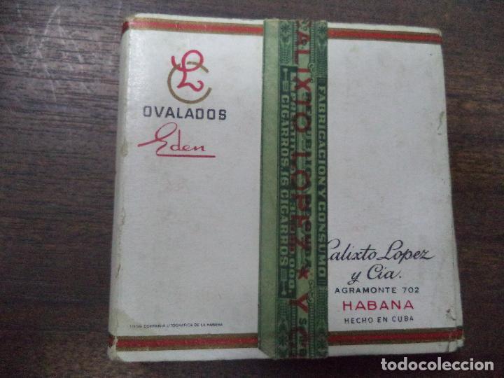 Paquetes de tabaco: PAQUETE DE TABACO DE CARTON. EDEN. CALIXTO LOPEZ Y CIA, HABANA. MEDIDAS : 8 X 8. VER FOTOS. - Foto 3 - 128219943
