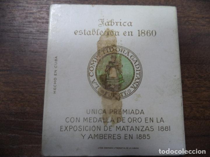 Paquetes de tabaco: PAQUETE DE TABACO DE CARTON. LA COMPETIDORA GADITANA. MEDIDAS : 8 X 8. VER FOTOS. - Foto 3 - 128220387