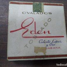 Paquetes de tabaco: PAQUETE DE TABACO DE CARTON. EDEN, CALIXTO LOPEZ Y CIA. HABANA. MEDIDAS : 8 X 8. VER FOTOS.. Lote 128220639