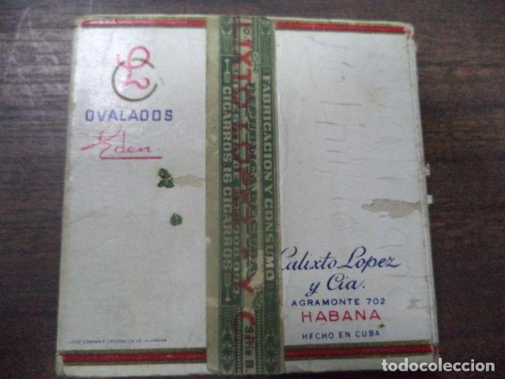 Paquetes de tabaco: PAQUETE DE TABACO DE CARTON. EDEN, CALIXTO LOPEZ Y CIA. HABANA. MEDIDAS : 8 X 8. VER FOTOS. - Foto 3 - 128220639